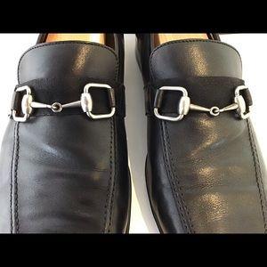 GUCCI Men's Luxe Black Loafers w/ Silver Horsebit